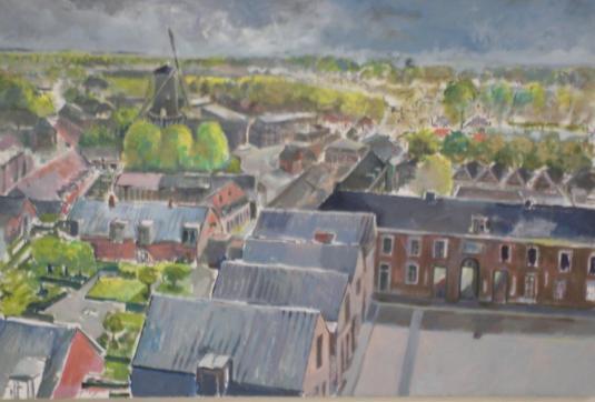 Uitzicht vanaf de Petruskerk. De Kunstkring, Woerden.